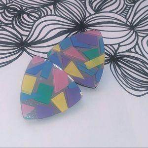 Colorful mirror look vintage earrings